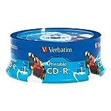 Verbatim CD-R 700MB 52X White Inkjet Printable, Hub Printable - 25pk Branded Spindle