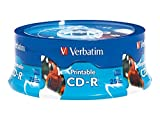 Verbatim 700MB 52x 80 Minute White Inkjet Printable, Hub Printable Recordable Disc CD-R, 25-Disc Spindle 96189