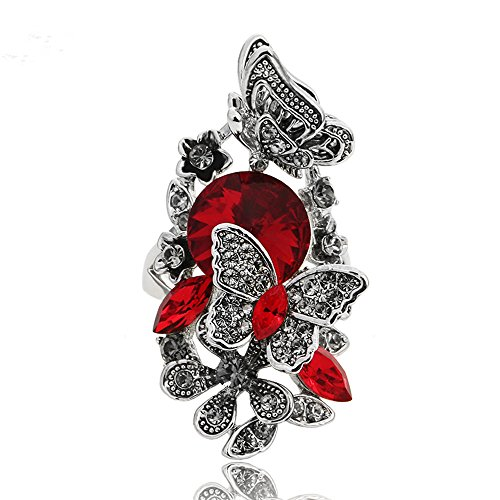 Ajojewel Red Crystal Rhinestone Flower and Butterfly Rings for Women Retro Vintage Jewelry (Red, 9)