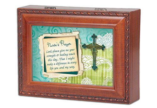 Nurse's Prayer Wood Grain Music Box - Plays Ave Maria