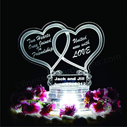 Double Heart LED Lighted Wedding Cake Topper Acrylic Cake Top Personalized