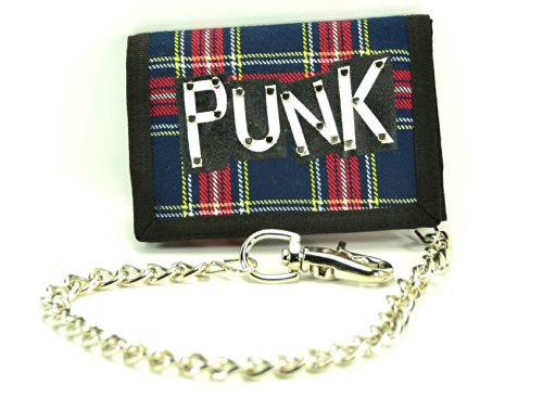 Plaid Tri Fold Wallet - Plaid Punk Patched Fabric Tri-fold Bikers Wallet with 16