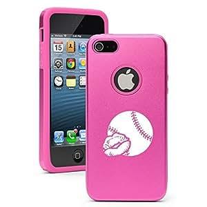 Apple iPhone 5c Aluminum Silicone Dual Layer Hard Case Cover Love Kiss Baseball Softball (Hot Pink)
