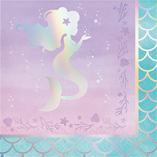 Creative Converting Party Supplies, Iridescent Mermaid Party Napkins, Napkin Lunch, Iridescent, 0.055X12.75X12.875in, ()