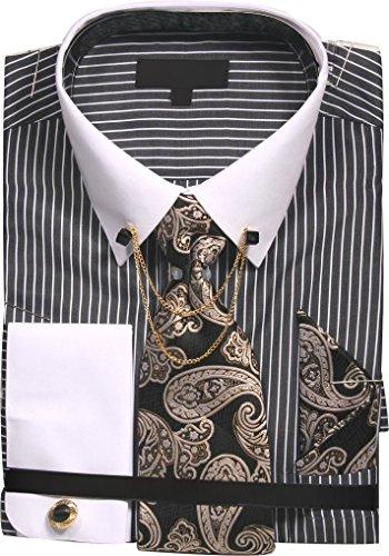 Men's Chalk Stripe Shirt with Tie Handkerchief Cufflinks and Collar Chain - Black 20.5 3637 Stripe Chain Link