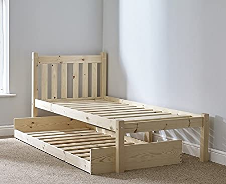 Guest Bed 2ft 6 Small Single Pine Bed With Pull Out Trundle Fast