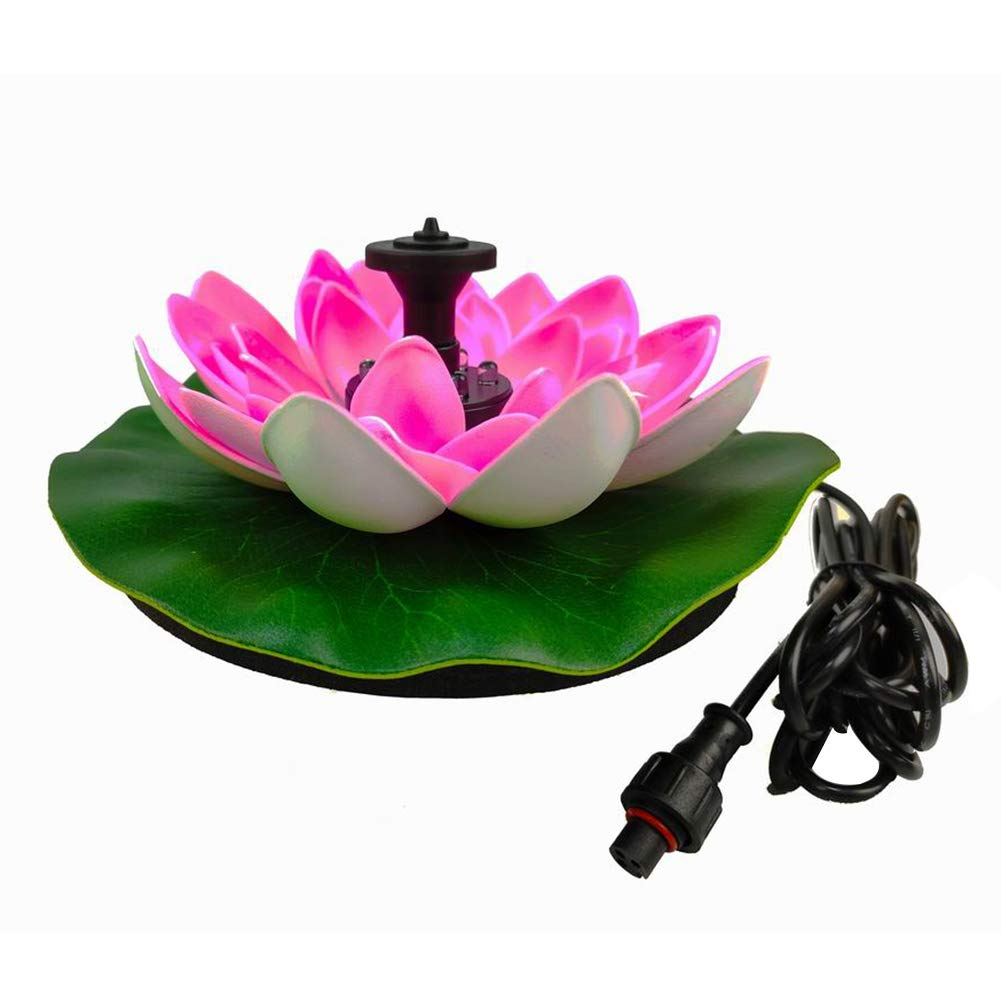everd1487HH Portable Solar Lotus Flower Water Fountain for Birdbath Outdoor Pond Garden Lawn with LED Light Pink