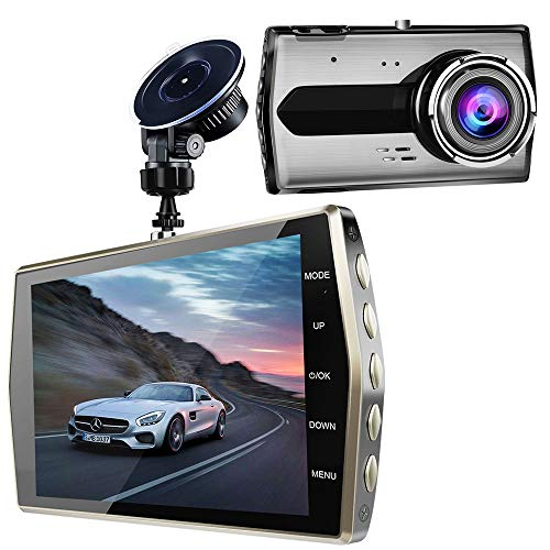 Dash Cam, 4 FHD LCD Dash Camera 1080P, 170 Degree Wide Angle Dashboard Camera Recorder with G-Sensor, Nighthawk Vision and Loop Recording, SD Card Not Included