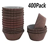 Kuqqi 400Pcs Brown Cupcake Case Liners Baking Muffin Paper Cases