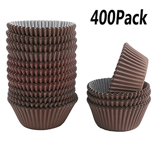 Kuqqi 400Pcs Brown Cupcake Case Liners Baking Muffin Paper Cases ()
