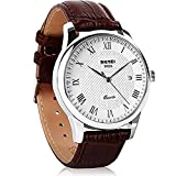 JOYSAE Men's Quartz Wrist Watches, Business Casual Watches Waterproof Wrist Watch with White dial Brown Leather Band for Mens (White)