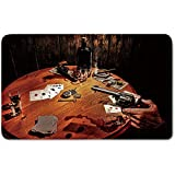 Memory Foam Bath Mat,Western,Gambler Holding a Revolver Gun Poker Cards Table Drinks Cigars Dark Saloon DecorativePlush Wanderlust Bathroom Decor Mat Rug Carpet with Anti-Slip Backing,Orange Brown Bl