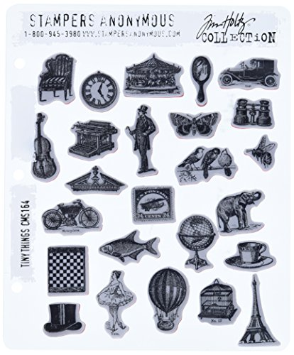 Stampers Anonymous Tim Holtz Cling Rubber Stamp Set, 7 by 8.5-Inch, Tiny Things ()