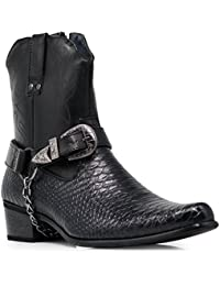 Men's Crocodile Prints Western Cowboy Boots with Side Zipper, Belt Buckle and Metal Chain