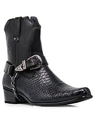 Alberto Fellini Mens Western-Boots Side Zipper Belt Buckle and Metal Chain Croc skin patten Cowboy Boots
