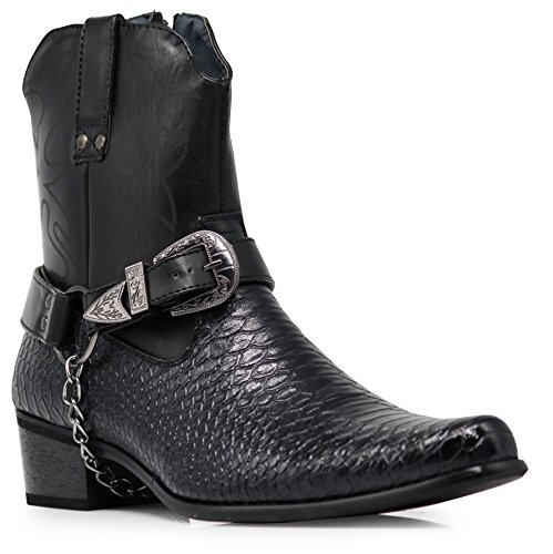 Alberto Fellini Men's Crocodile Prints Western Boots with Side Zipper, Belt Buckle and Metal Chain (Black, ()