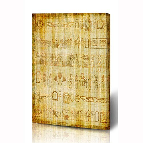 (Ahawoso Canvas Prints Wall Art 12x16 Inches Old Brown Egypt Ancient Egyptian Parchment Vintage Art Yellow Papyrus Writing Border Pharaoh Africa Wooden Frame Printing Home Living Room Office Bedroom)