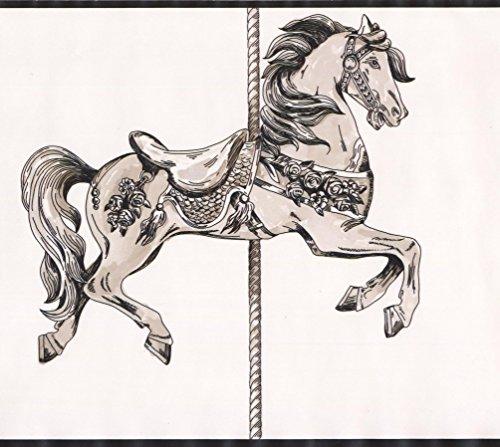 Beige Horse Carousel Wallpaper Border Retro Design, Roll 15' x 9'' (Retro Carousel)