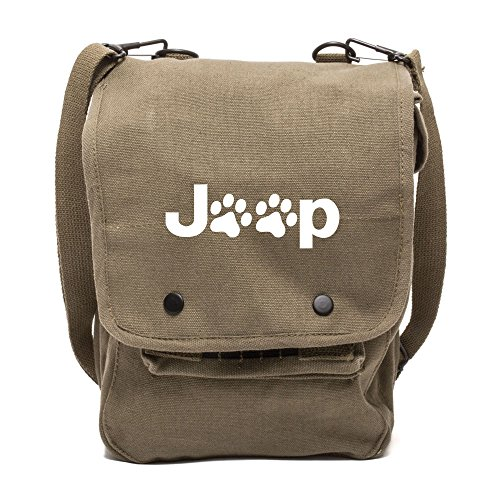 Cheap Army Force Gear Jeep Wrangler Cat Dog Paw Prints Canvas Crossbody Travel Map Bag Case in Olive & White