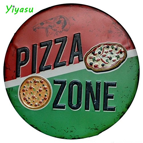 (CHIMAGE PIZZA ZONE Metal Irregular Round Tin Sign Poster Wall Garage Pub Cafe Home Decor)