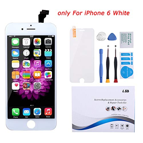 Screen Replacement for iPhone 6 Screen White LCD Display Digitizer Frame Assembly Full Set with Repair Tools and Screen Protector for iPhone 6 White Replacement Screen (Lcd Iphone 6 White)