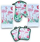 American Mills Kitchen Towel Set 5 Piece Towels Pot Holders Oven Mitt Decorative Flamingos