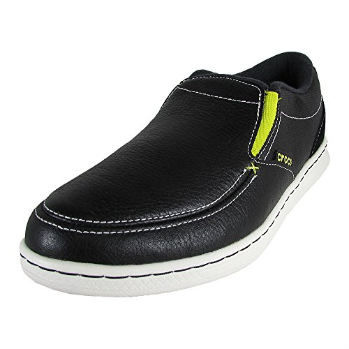 (Crocs Mens LoPro Slip On Leather Sneaker Shoes, Black/White, US 12)