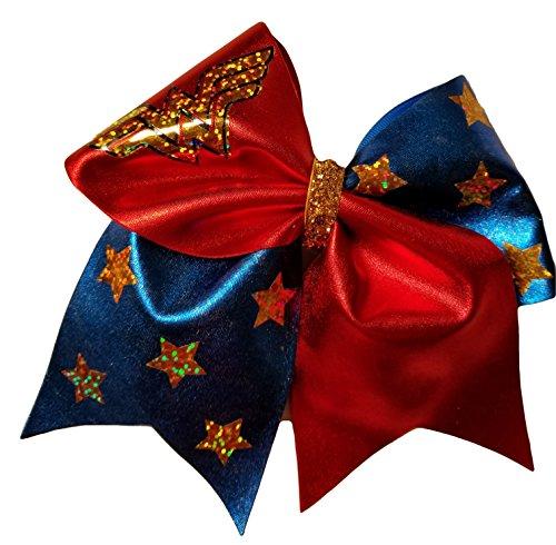 Hero Hair Super Bow - Cheer bows blue sparkly Wonder Woman Hair Bow