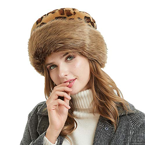- Soul Young Women's Leopard Faux Fur Hat with Fleece and Elastic for Winter(One Size,Classic Leopard)