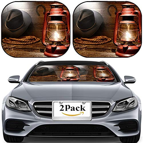 MSD Car Sun Shade for Windshield Universal Fit 2 Pack Sunshade, Block Sun Glare, UV and Heat, Protect Car Interior, Image ID: 15544339 Vintage Kerosene Lantern lamp Illuminating American West r