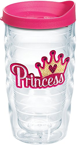 Tervis 1166252 Princess - Sequins Insulated Tumbler with Emblem and Fuschia Lid, 10oz Wavy, Clear