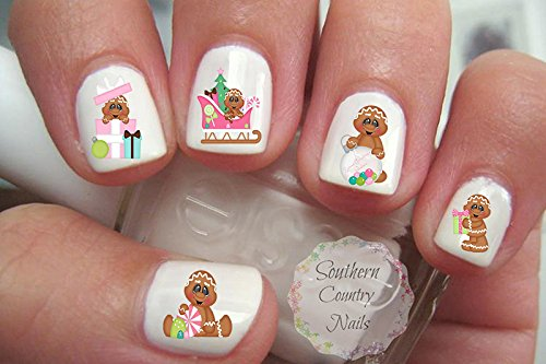 (Sweet Christmas Gingerbread Nail Art Decals)