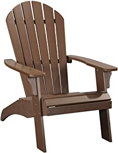 PolyTEAK King Size Adirondack Chair, Brown | Adult-Size, Weather Resistant, Made from Special Formulated Poly Lumber Plastic
