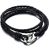 Triple-row Black Braided Leather Bracelet for Men for Boys Wrap Bracelet with Steel Claw Clasp