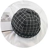 Plaid Beret Hat Cap Ladies Beanie Beret Girls Pumpkin Hat Gorras Boinas Adjustable,Black