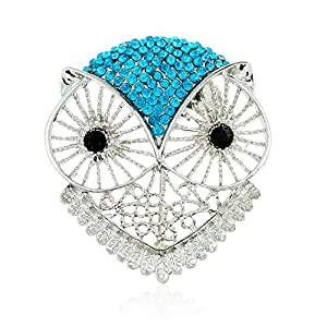 Winter's Secret Diamond Accented Hollow out the Owl Pattern Crystal Animal Blue Brooch Pin