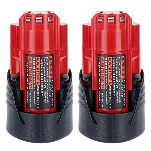 Lasica 2 Pack 3.0Ah 12V M12 Lithium Battery 48-11-2401 Replacement for Milwaukee M12 Battery XC 48-11-2402 48-11-2411 48-11-2420 48-11-2450 48-59-1812 C12BX 48-59-2401 12 Volt M12 Cordless Power Tools (Milwaukee Tools M12 Battery)