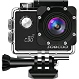 4K WIFI Action Camera Waterproof Cam,SOOCOO C30 Video Sport Camera 20MP 2 LCD 170 degree Wide-angle 30M Underwater Camcorder With 2x1350mAh Batteries 18 Accessories Kit (SD Card Not Included) - Black