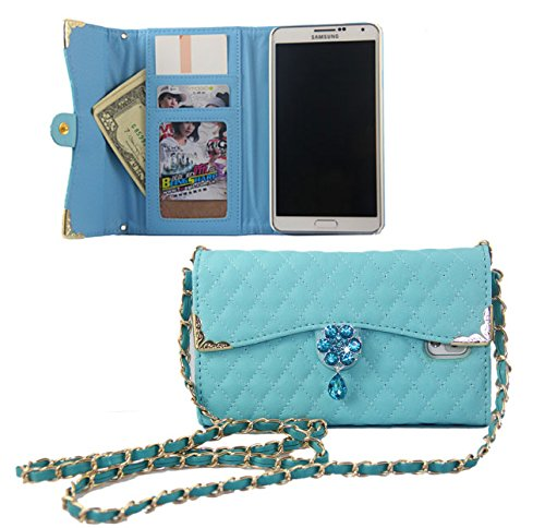 For Samsung Galaxy Note 3 Luxury Bling Diamond PU Leather Flip Wallet Card Holder Handbag Case Cover For Samsung Galaxy Note 3 (Light Blue)