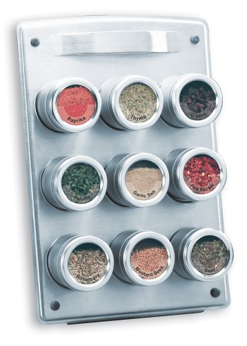 Kamenstein 9-Tin Magnetic Spice Rack with Easel Back