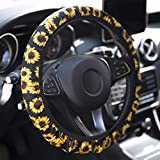 YR Universal Steering Wheel Covers, Cute Car Steering Wheel Cover for Women and Girls, Car Accessories for Women, Sunflower