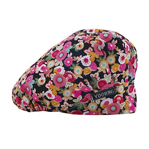 Women Scrub Bouffant Hat Cap Adjustable Classic Beauty Print Floral Cute One Set