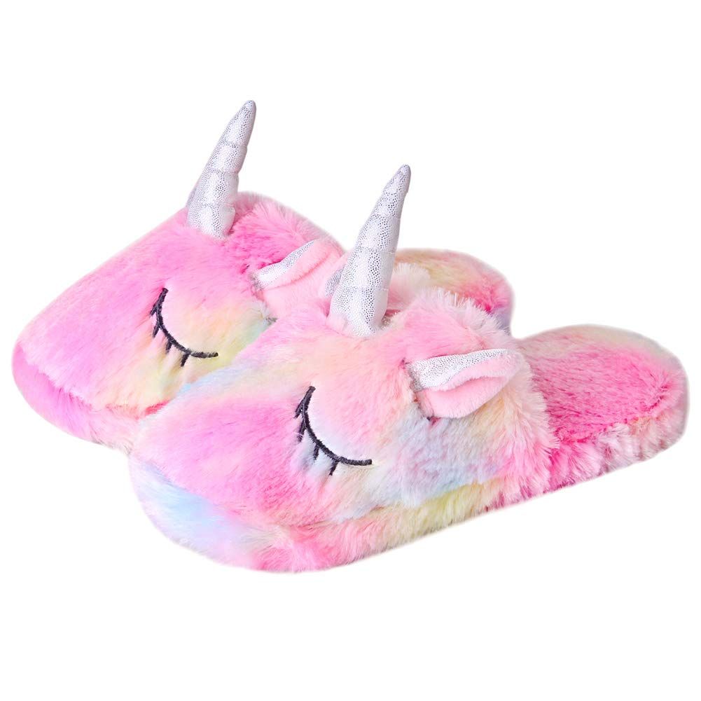 Anddyam Kids Family Cute Cat Household Anti-Slip Indoor Home Slippers for Girls and Boys Little Kid (6-8 Years)