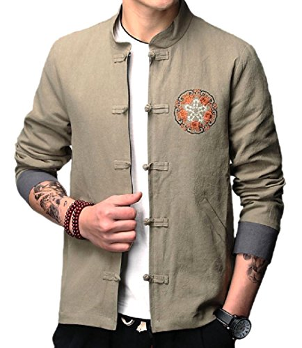 Coat Arts Long Men's Sleeve Green Size CuteRose Army Jacket Plus Martial Trench wYTqpxpzR5
