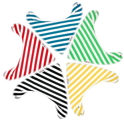 Baby Bandana Drool Bibs by Snappy Swagger (5-Pack) - Adjustable Bandana Bibs in Modern Designs - Baby Girl or Boy Bandana Bibs make Great Shower Gift - 100% Organic Cotton (Striped Baby)