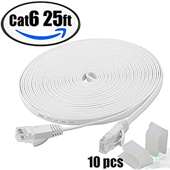 Cat6 25Ft & 10pcs Sticky clips,Flat Internet Network Cable– XINCA Cat 6 short Computer Ethernet Cable With Snagless Rj45 Connectors & 3M lan cable clips– 25 feet White (7.6 Meters)