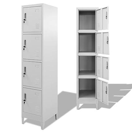 Festnight Mueble Archivador Armario de Oficina Acero con 4 Compartimentos,38x45x180 cm (Tipo 4