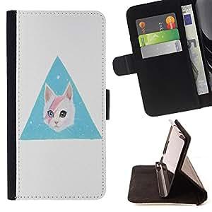 King Case - FOR Samsung Galaxy S4 Mini i9190 - smile on your face - Prima caja de la PU billetera de cuero con ranuras para tarjetas, efectivo Compartimiento desmontable y correa para la mu?eca