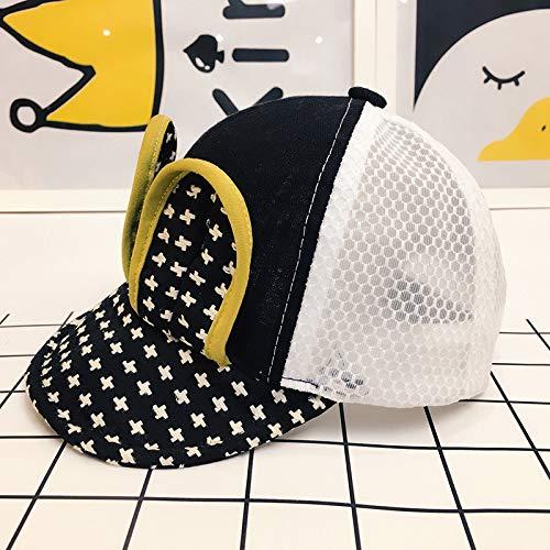 Black Huasen Sun Visor Toddler Breathable Mesh Hat Baby Rabbit Ear Sun Protection Hat