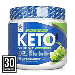 Exogenous Ketones Supplement with Beta Hydroxybutyrate BHB Salts for the Ketogenic Diet – Keto Powder Drink to Help Reach Ketosis, Burn Fat, Reduce Stress, and Boost Energy (Sour Apple, 30 Servings)